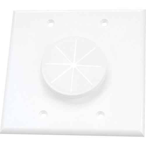 CABLEPLATE 2-GANG GROMMET WHT